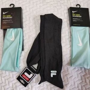 NWT Set of 3 Headbands 2 Nike 1 Fila